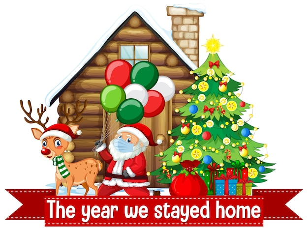Święta Bożego Narodzenia Podczas Covid Darmowych Wektorów