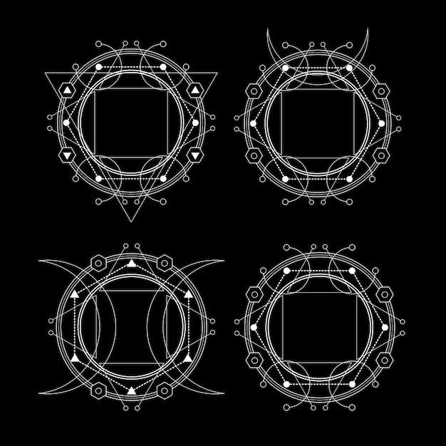 Święta Geometria O Ciemności Premium Wektorów