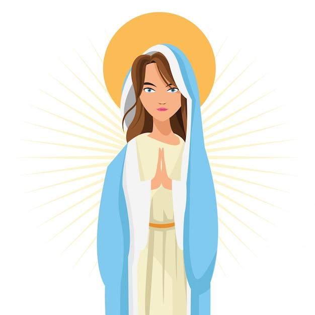 Święta Mary Kobiety Dziewczyny Kreskówki Religii świątobliwa Ikona Premium Wektorów