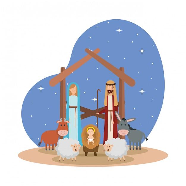 Święta rodzina z postaciami żłobków zwierząt Premium Wektorów