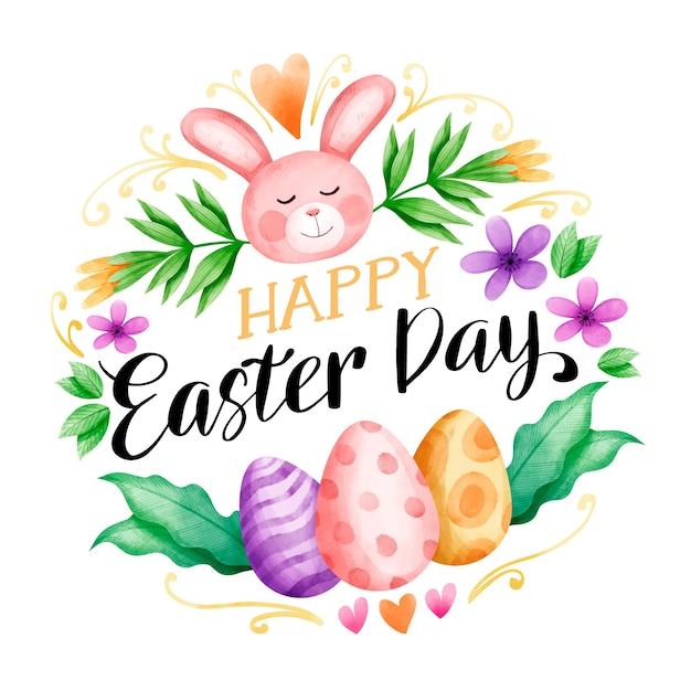 Święta Wielkanocne Akwarela I Kolorowe Jajka Darmowych Wektorów