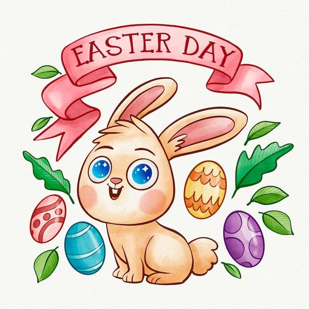 Święta Wielkanocne Akwarela I Królik O Niebieskich Oczach Darmowych Wektorów