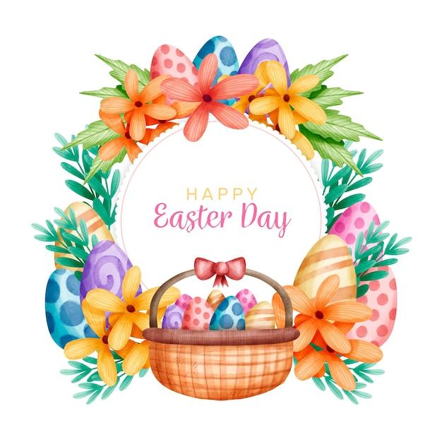 Święta Wielkanocne I Kosz Pełen Jaj Darmowych Wektorów