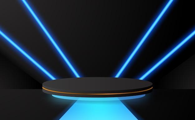 Świetna Scena Na Cokole Na Podium W Kształcie Cylindra Z Dekoracją W Kolorze Niebieskim Neonowym Z Ciemnym Tłem Do Wyświetlania Technologii Produktu Premium Wektorów