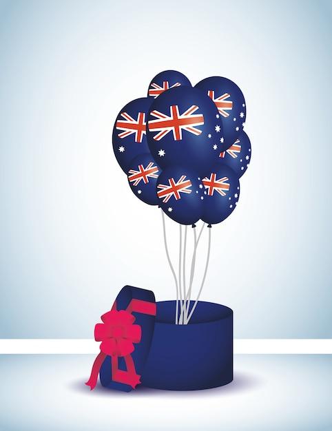 Święto Australii Z Balonów Helem I Prezentem Premium Wektorów