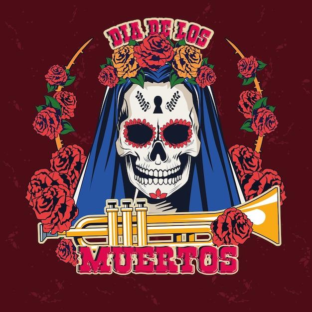 Święto Dia De Los Muertos Z Kobiecą Czaszką I Trąbką Wektorową Ilustracją Premium Wektorów