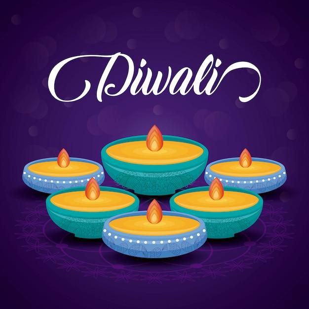 Święto Diwali świec Darmowych Wektorów