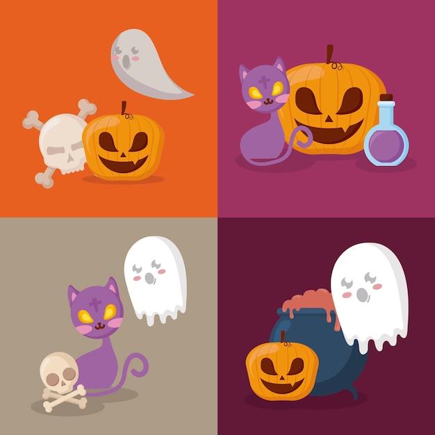 Święto Halloween Zestaw Ikon Darmowych Wektorów