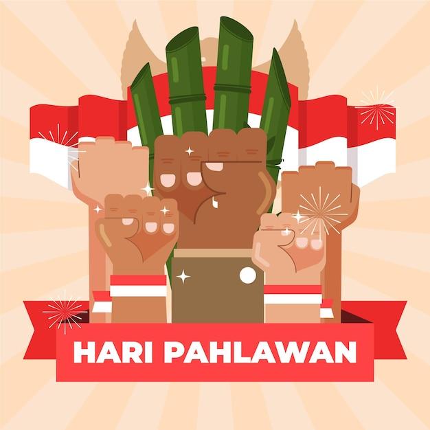 Święto Ilustracji Pahlawan Premium Wektorów
