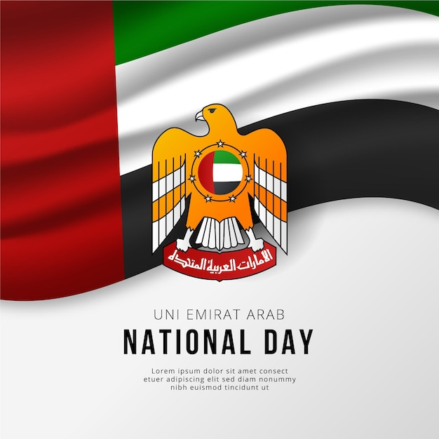Święto Narodowe Zjednoczonych Emiratów Arabskich Z Flagą Premium Wektorów