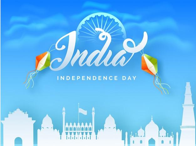 Święto niepodległości indii Premium Wektorów