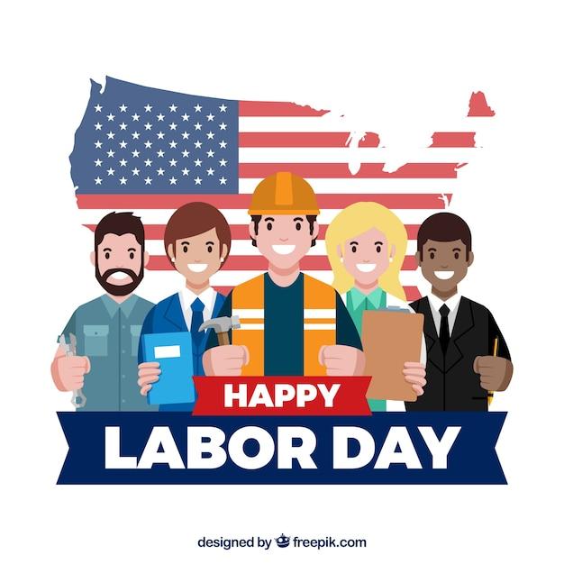 Święto Pracy Tło Z Pracownikami Darmowych Wektorów