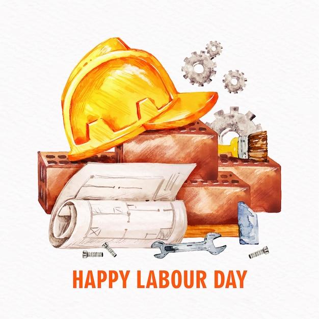 Święto Pracy Z Hełmem Darmowych Wektorów