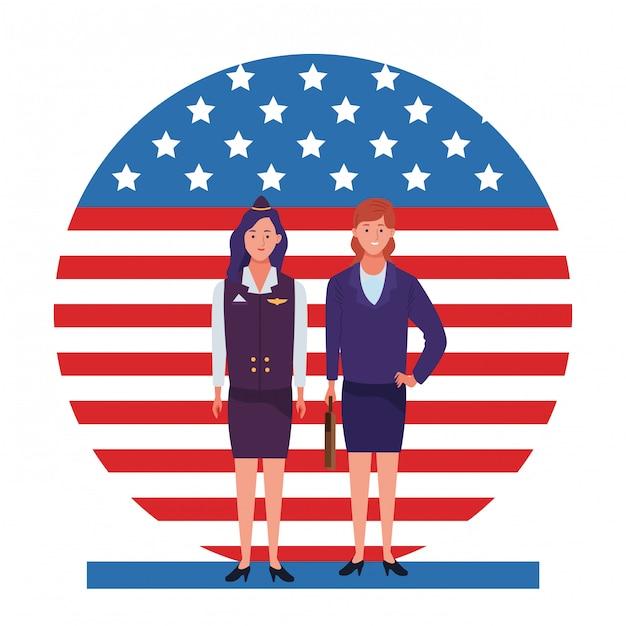 Święto Pracy Zawód święto Narodowe, Stewardessa Z Pracownikami Kobiety Biznesu Przed Amerykańską Flagą Stanów Zjednoczonych Ilustracji Premium Wektorów