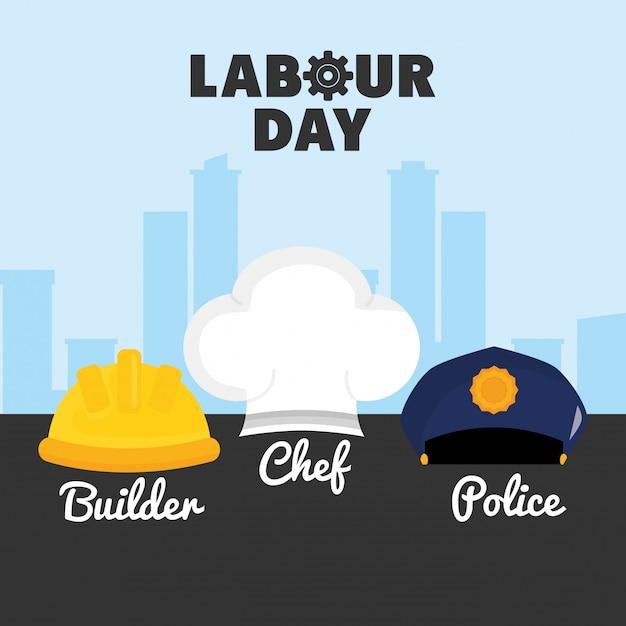 Święto pracy. zestaw mundurów pracowników kapeluszy Premium Wektorów