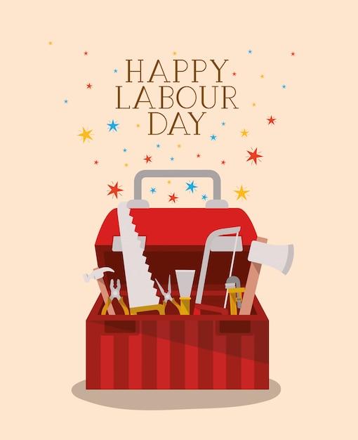 Święto święta Pracy Z Skrzynką Narzędziową Premium Wektorów