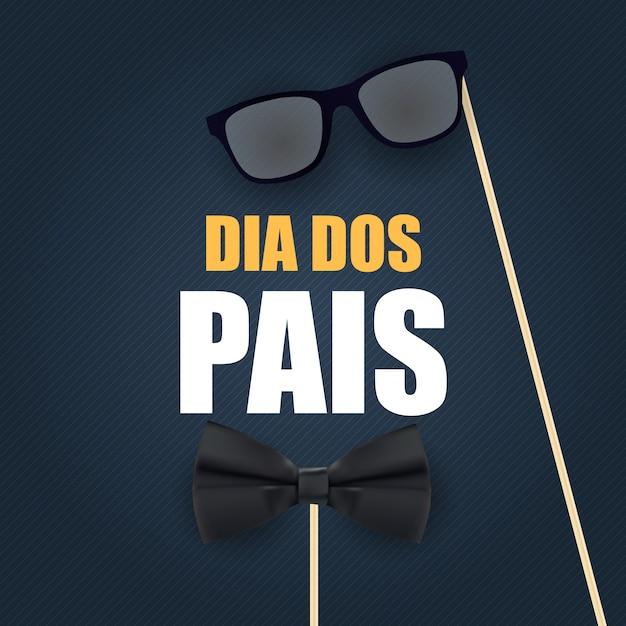 Święto w brazylii dzień ojca. portugalski brazylijski dzień szczęśliwy ojców. dia dos pais. ilustracja wektorowa Premium Wektorów