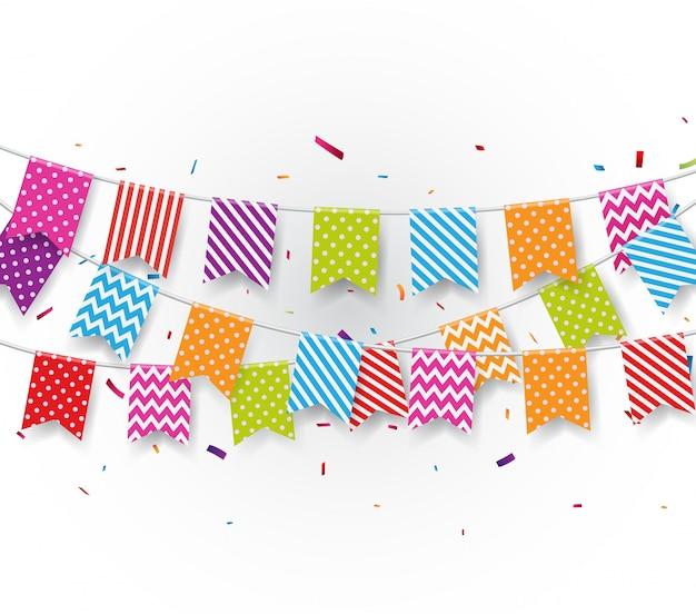 Świętowania Tło Z Chorągiewek Flaga I Confetti Premium Wektorów