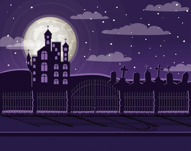 Świętowanie halloween ze sceną cmentarza i zamku Premium Wektorów