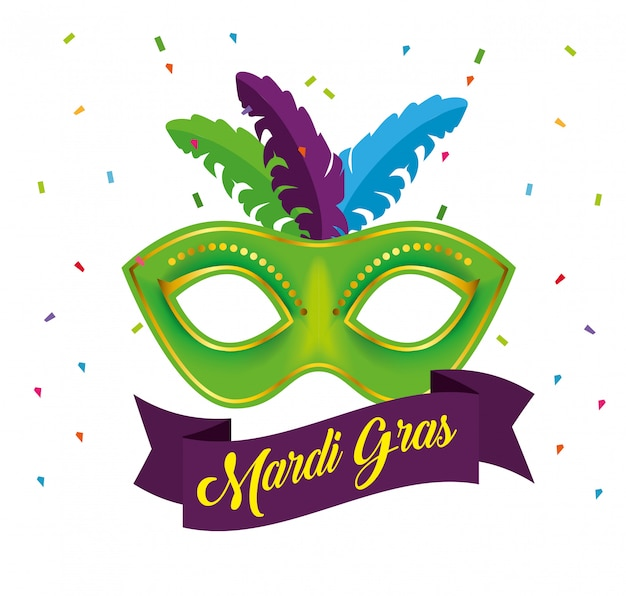 Świętowanie mardi gras z maską imprezową Darmowych Wektorów