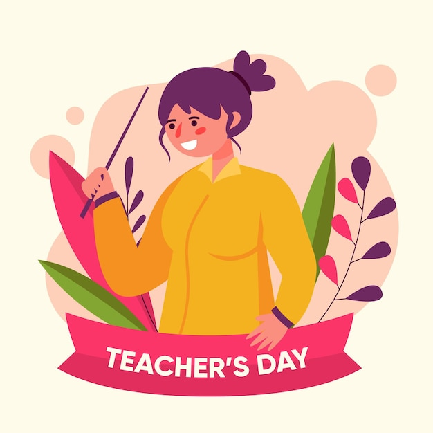 Świętujemy Dzień Nauczycieli Projektowania Płaskiego Darmowych Wektorów