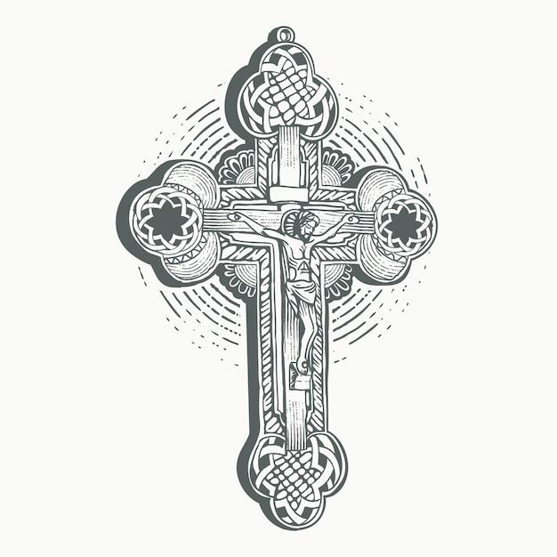 Święty Chrystus Krzyż Z Wygrawerowanym Kształtem Konturu Premium Wektorów