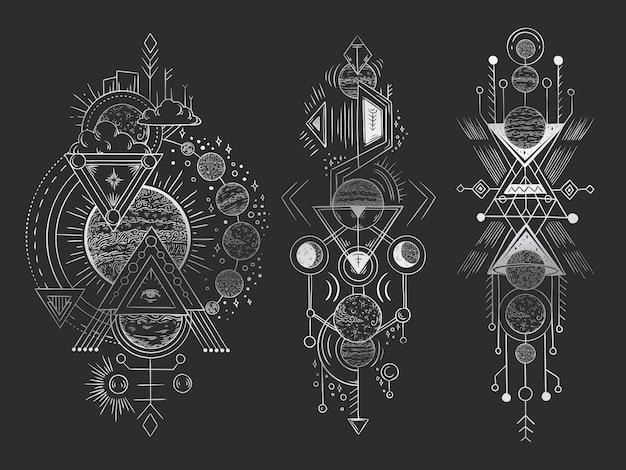 Święty Geometryczny Księżyc, Tajemnicze Objawienie Strzała Linie I Mistycyzm Harmonii Ręka Rysująca Ilustracja Premium Wektorów