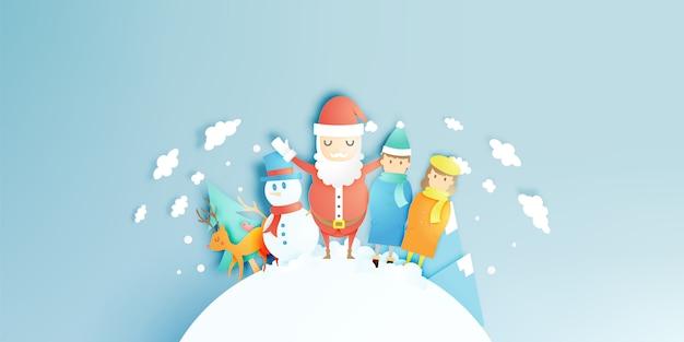 Święty mikołaj, bałwan i renifer w stylu sztuki papieru z tłem śniegu i śniegu Premium Wektorów