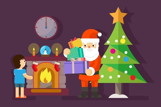 Święty Mikołaj Daje Prezenty Dla Małego Chłopca Na Choince. Prezent Dla Dziecka, Obchody Wakacji, Ilustracji Wektorowych Darmowych Wektorów