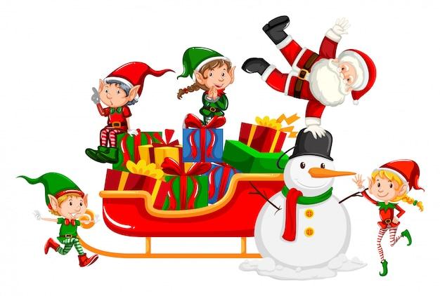 Święty mikołaj i boże narodzenie elfy na saniach Darmowych Wektorów