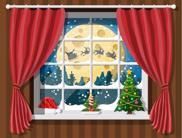 Święty Mikołaj I Jego Renifery W Oknie. Wnętrze Pokoju Z Choinką. Dekoracja Szczęśliwego Nowego Roku. Wesołych świąt Bożego Narodzenia. Nowy Rok I święta Bożego Narodzenia. Premium Wektorów