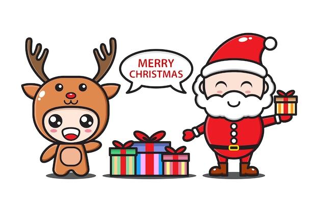 Święty Mikołaj I Jelenie Z Prezentami Premium Wektorów