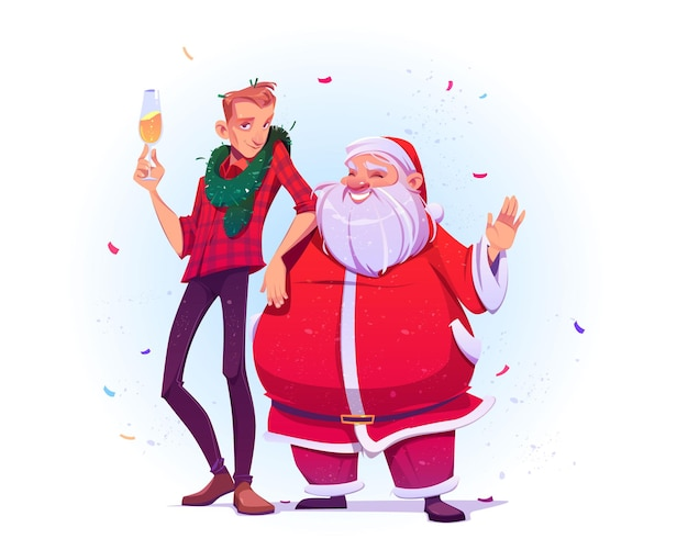 Święty Mikołaj I Młody Człowiek Z Szampanem świętują Boże Narodzenie I Nowy Rok. Darmowych Wektorów