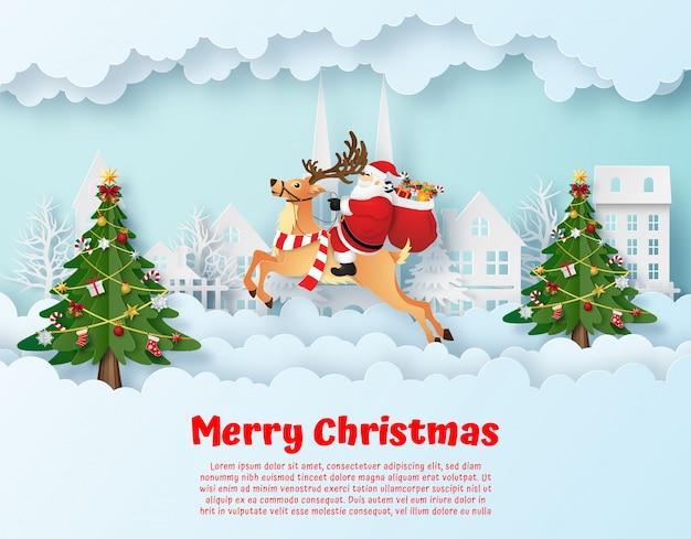 Święty Mikołaj I Renifery We Wsi Premium Wektorów