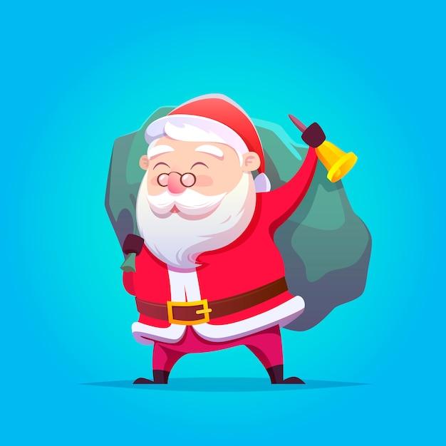 Święty Mikołaj Ilustracja. Wesołych świąt I Szczęśliwego Nowego Roku. Premium Wektorów