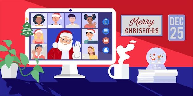 Święty Mikołaj Mając Wideokonferencję Na Komputerze Z Dziećmi W Domu. Premium Wektorów