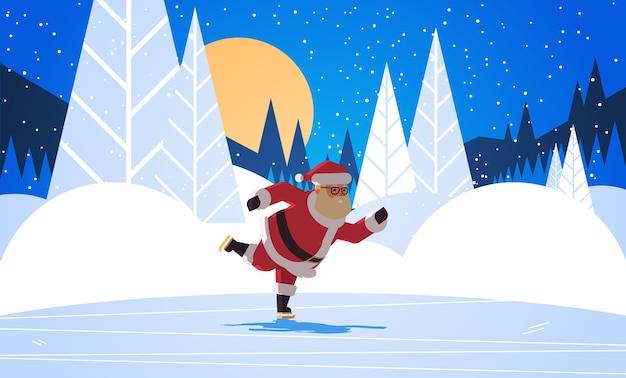 Święty Mikołaj Na łyżwach Wesołych świąt Zima Wakacje Koncepcja Noc Las Pełnia Księżyca Krajobraz Kartka Z życzeniami Pełnej Długości Pozioma Ilustracja Wektorowa Premium Wektorów