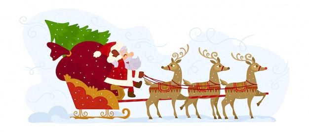 Święty mikołaj na saniach pełnych prezentów i jego reniferów Premium Wektorów