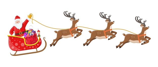 Święty Mikołaj Na Saniach Pełnych Prezentów I Jego Renifery. Dekoracja Szczęśliwego Nowego Roku. Wesołych świąt Bożego Narodzenia. Nowy Rok I święta Bożego Narodzenia. Premium Wektorów