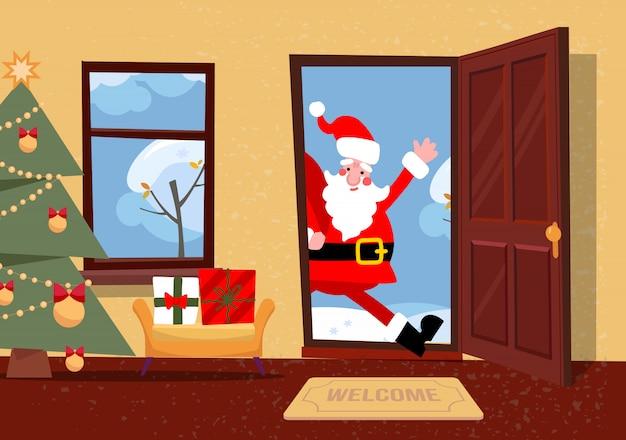 Święty Mikołaj Patrzy W Drzwi. Premium Wektorów