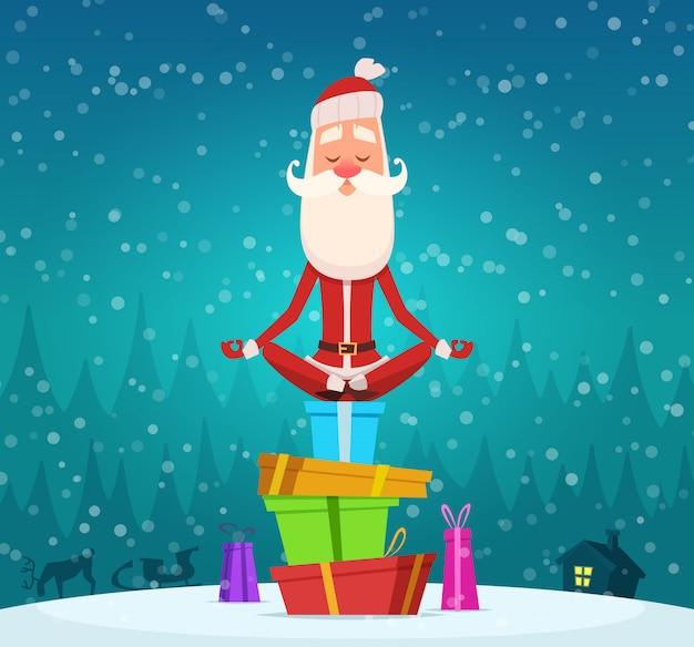 Święty mikołaj relaksuje medytację, zima bożych narodzeń wakacje charakter święty mikołaj robi joga exercices plenerowej maskotki Premium Wektorów