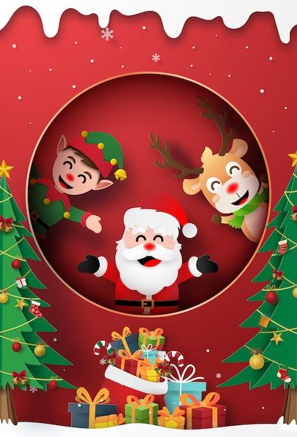 Święty Mikołaj, Renifer I Elf Przy Oknie Z Prezentem świątecznym Premium Wektorów