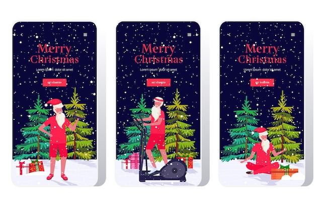 Święty Mikołaj Robi Różne ćwiczenia Brodaty Mężczyzna Trening Trening Koncepcja Boże Narodzenie Nowy Rok święta Uroczystość Ekrany Smartfonów Ustawia Baner Aplikacji Mobilnej Online Premium Wektorów