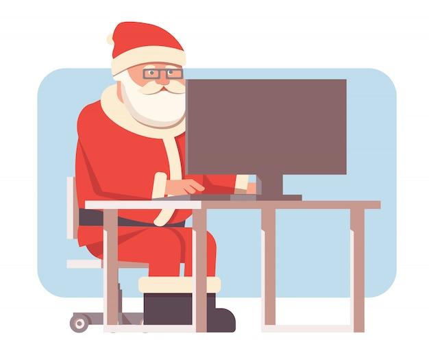Święty Mikołaj Siedzieć Przy Komputerze. Premium Wektorów