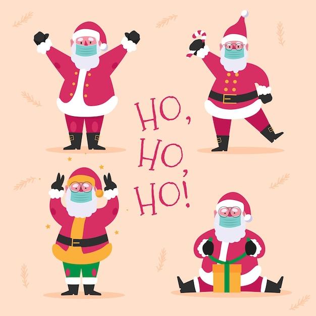 Święty Mikołaj Ubrany W Maskę Medyczną Darmowych Wektorów