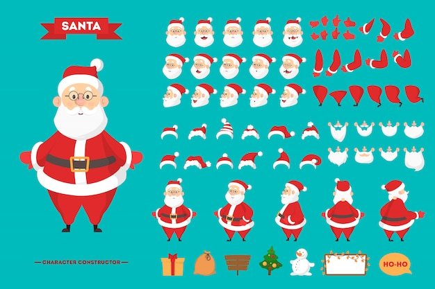 Święty Mikołaj W Czerwonych Ubraniach Zestaw Do Animacji Z Różnymi Widokami, Fryzurą, Emocjami, Pozą I Gestami. Szczęśliwy Starzec Z Białą Brodą. Ilustracja W Stylu Kreskówki Premium Wektorów