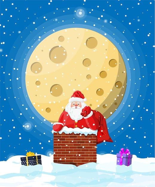 Święty Mikołaj W Kominie Niosący Prezenty Premium Wektorów