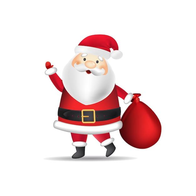 Święty Mikołaj W Kostiumie Niosącym Worek Darmowych Wektorów