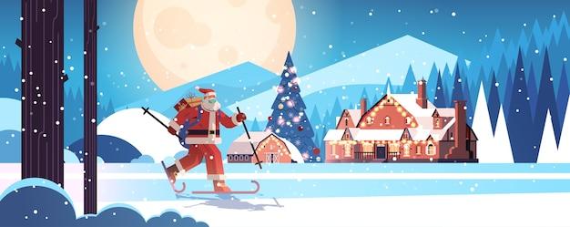 Święty Mikołaj W Masce Na Nartach Z Pudełka Na Prezenty Szczęśliwego Nowego Roku Wesołych świąt Bożego Narodzenia Koncepcja Uroczystości Zimowy Las Krajobraz Tło Pełnej Długości Pozioma Ilustracja Wektorowa Premium Wektorów