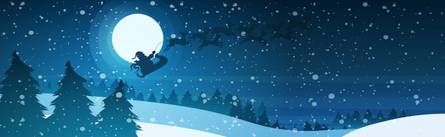 Święty Mikołaj W Saniach Z Reniferami W Nocne Niebo Nad śnieżną Sosną Jodła Las Wesołych świąt Szczęśliwego Nowego Roku Zimowe Wakacje Koncepcja Premium Wektorów